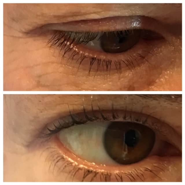 lash lift close up before and after