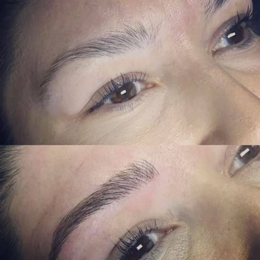 semi permanent eyebrows before and after microblading